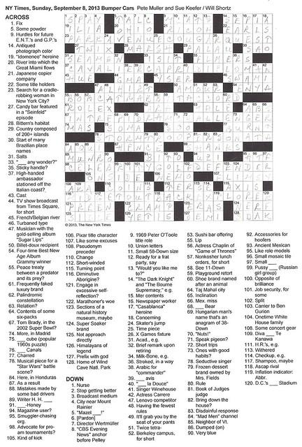 NYT Sunday Puzzle - September 8, 2013