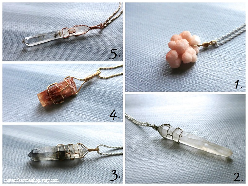 Handmade Raw Crystal Pendants by InstantKarmaShop.etsy.com