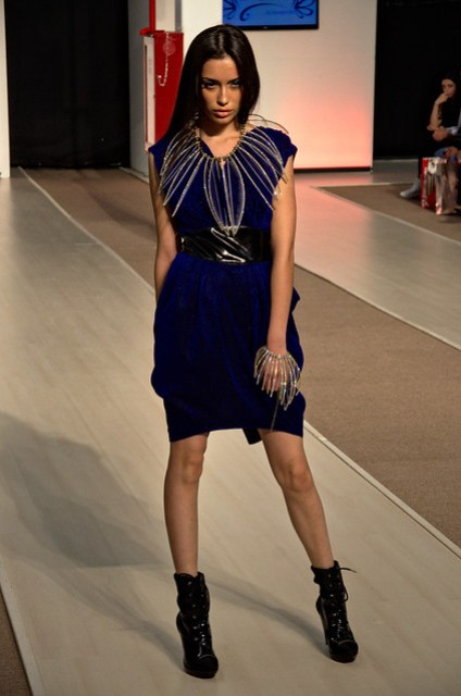 Dark blue short dress  - Intermoda Trends