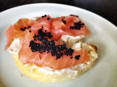 smoked salmon + cream cheese + seaweed caviar bagel