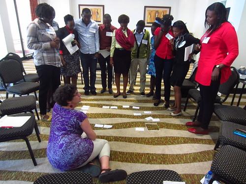 Nancy White training young facilitators prior to ICT4Ag (Photo credit: Ewen Le Borgne / ILRI)