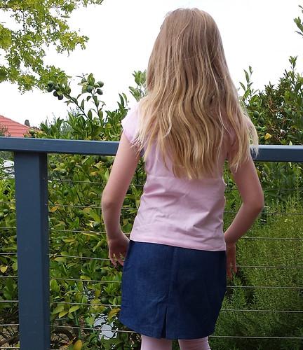 Oliver + S sailboat skirt, size 8 in denim