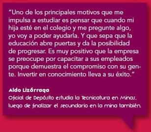 Programa de Estudios Terciarios. Aldo Lizárraga, Oficial de Depósito estudia la Tecnicatura en Minas.