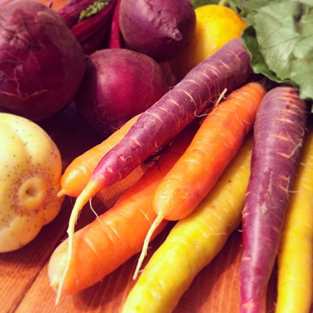 Port Townsend Farmers Market goodies! Rainbow carrots, beets, lemon cucumbers, and green leaf lettuce!