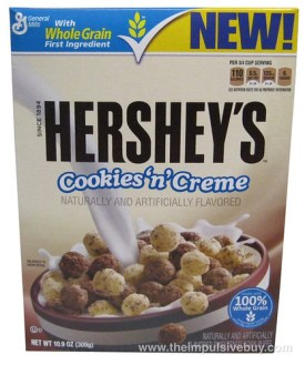 Hershey's Cookies 'n' Creme Corn Puff Cereal Box