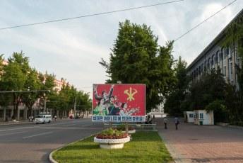 Het straatbeeld in Pyongyang.