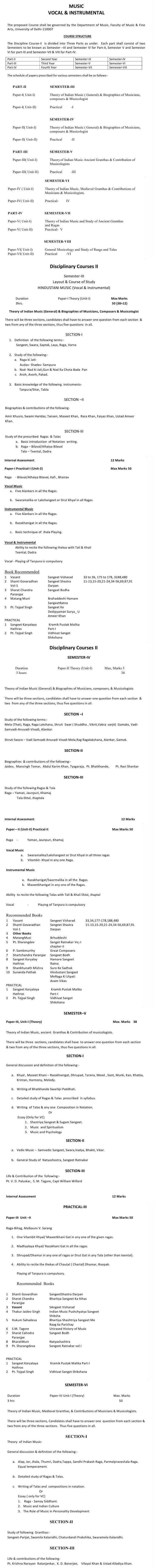 DU DC I, DC II and Applied Course Syllabus - Karnatak Music