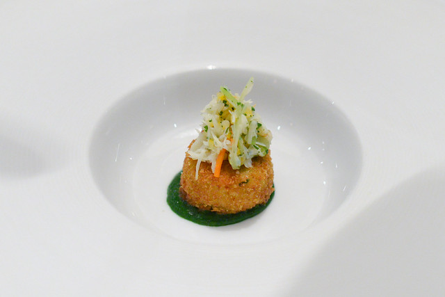 Sweet Onion and Parmesan dungeness crab, meyer lemon, scallion