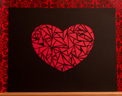 Abstract paper cut heart-6
