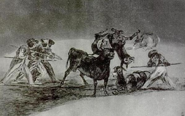 Palenque de los moros hecho con burro. Obra de Francisco de Goya (1814-16)
