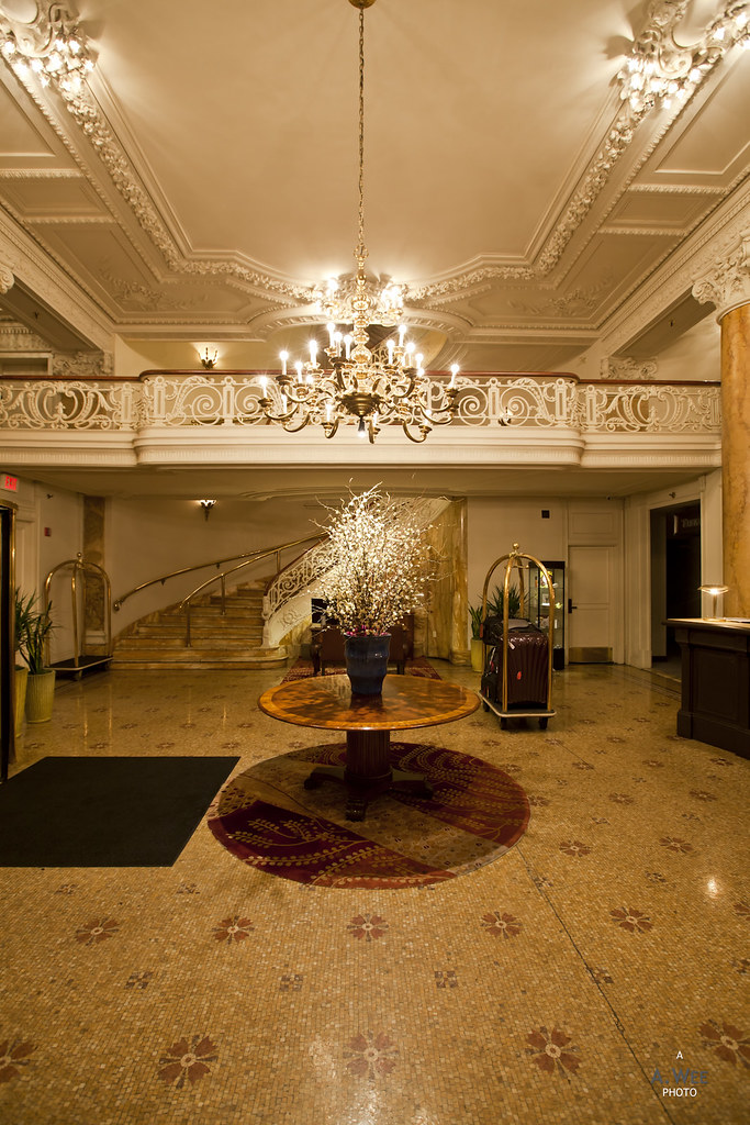 Lobby with Chandelier