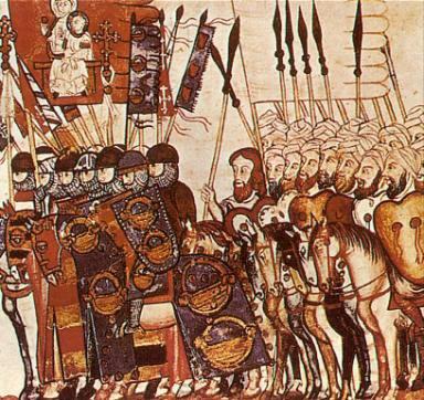 1. Miniatura medieval representando una batalla. De las Cantigas de Santa María.