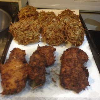 Sweet potato latkes (front) regular latkes (rear) #food #hanukkah