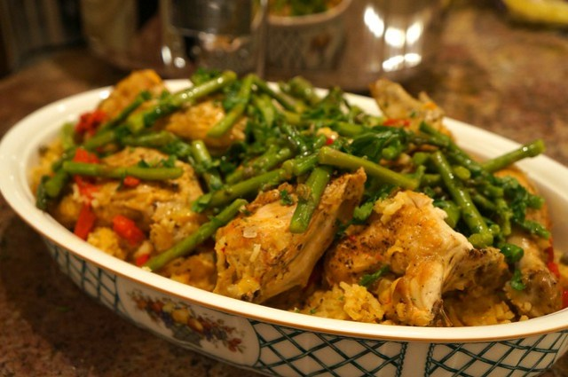 Slow Cooker Chicken with Saffron Rice and Warm Asparagus Salad