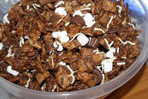 Evil Chocolate Caramel Chex Mix