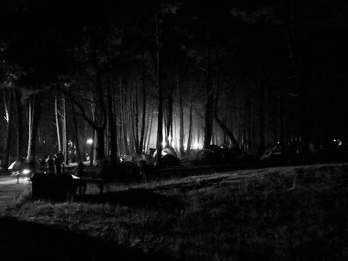 Campamento en el bosque, durante el Festival de Música Celta de Ortigueira, Galicia, 2013