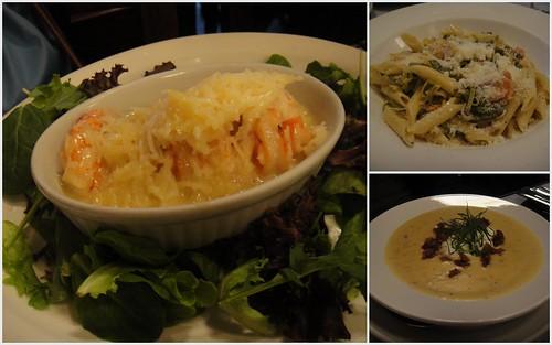 coconut tiger shrimp, gumbo soup, linguini grilled chicken