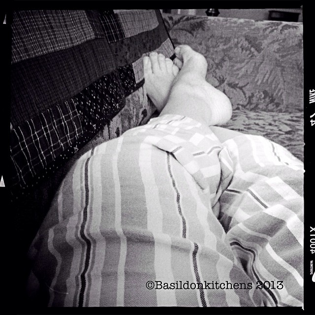 Nov 13 - part of me {my pajama clad feet still propped up on the sofa} #fmsphotoaday #feet #pjs #sofa #sickday #black&white