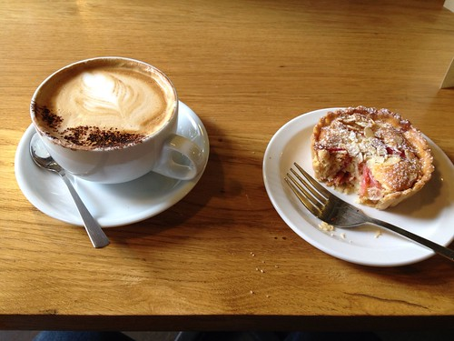 Coffee and rhubarb crumble tart at the Arnolfini