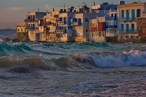 Breaking Waves at Old Town of Mykonos