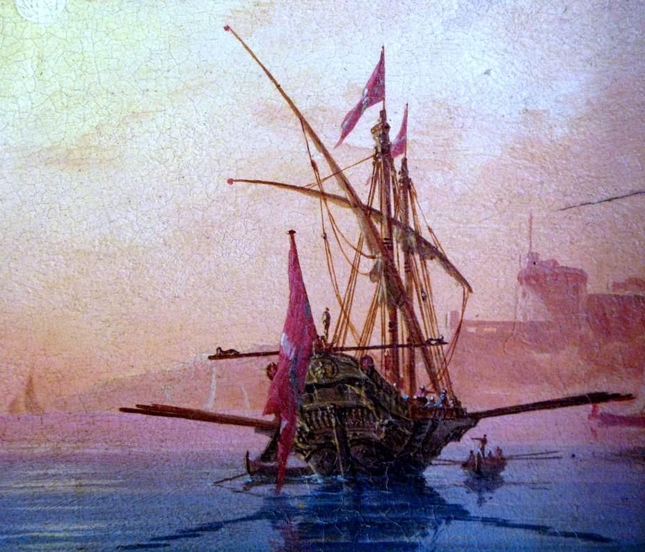 Galera llegando a puerto. Obra de Charles-François Grenier de Lacroix (1765)