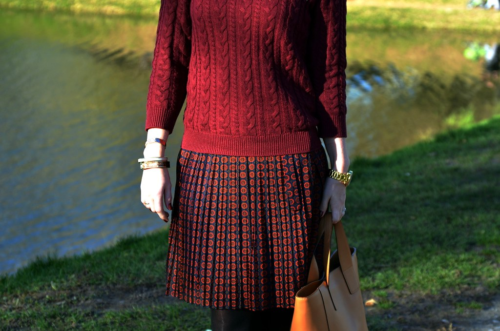 dark red sweater and skirt