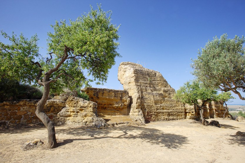 City wall ruins found among the olive trees