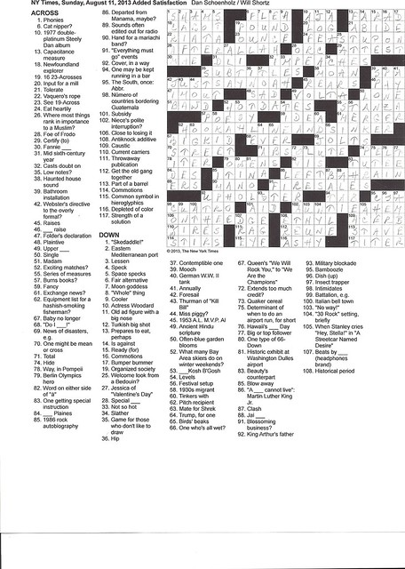 NYT Sunday Puzzle - August 11, 2013