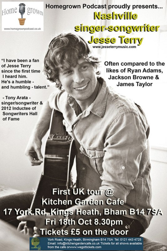 Jesse Terry Friday 18th October The Kitchen Garden, Kings Heath, Birmingham