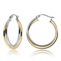 Yellow Gold Flashed Silver Two-Tone Intertwining Square ...