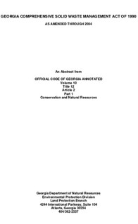 Georgia Comprehensive Solid Waste Management Act of 1990