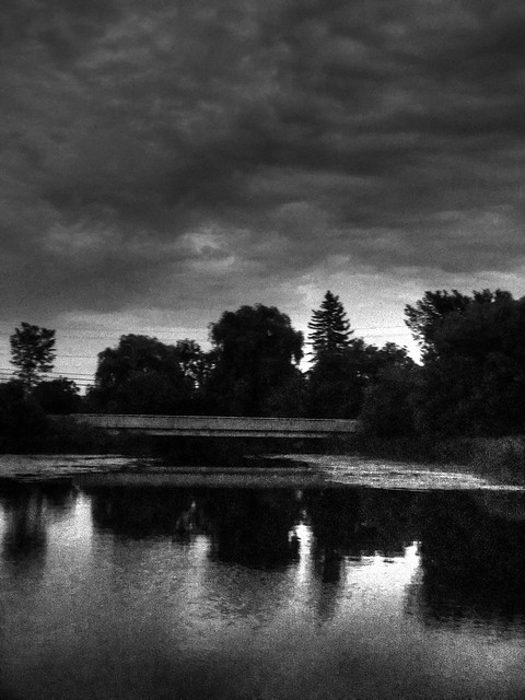 evening reflections in black and white