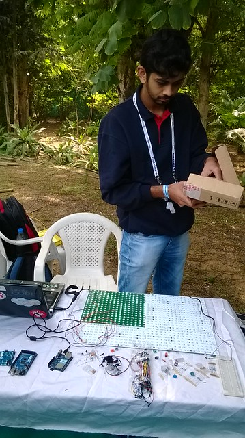 Ankit from Arduino India setting up the stall