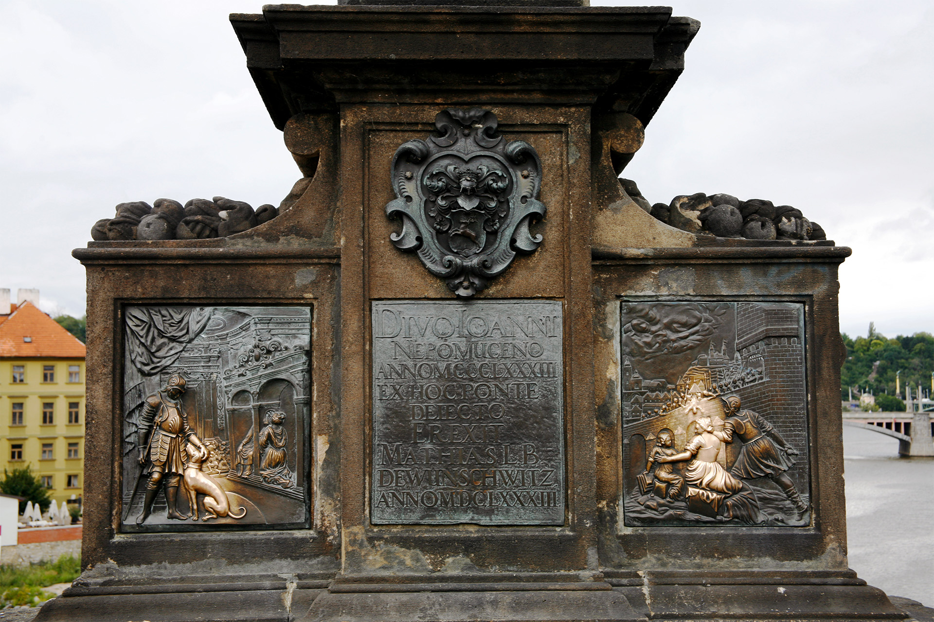 Lucky reliefs, Charles Bridge, Prague.