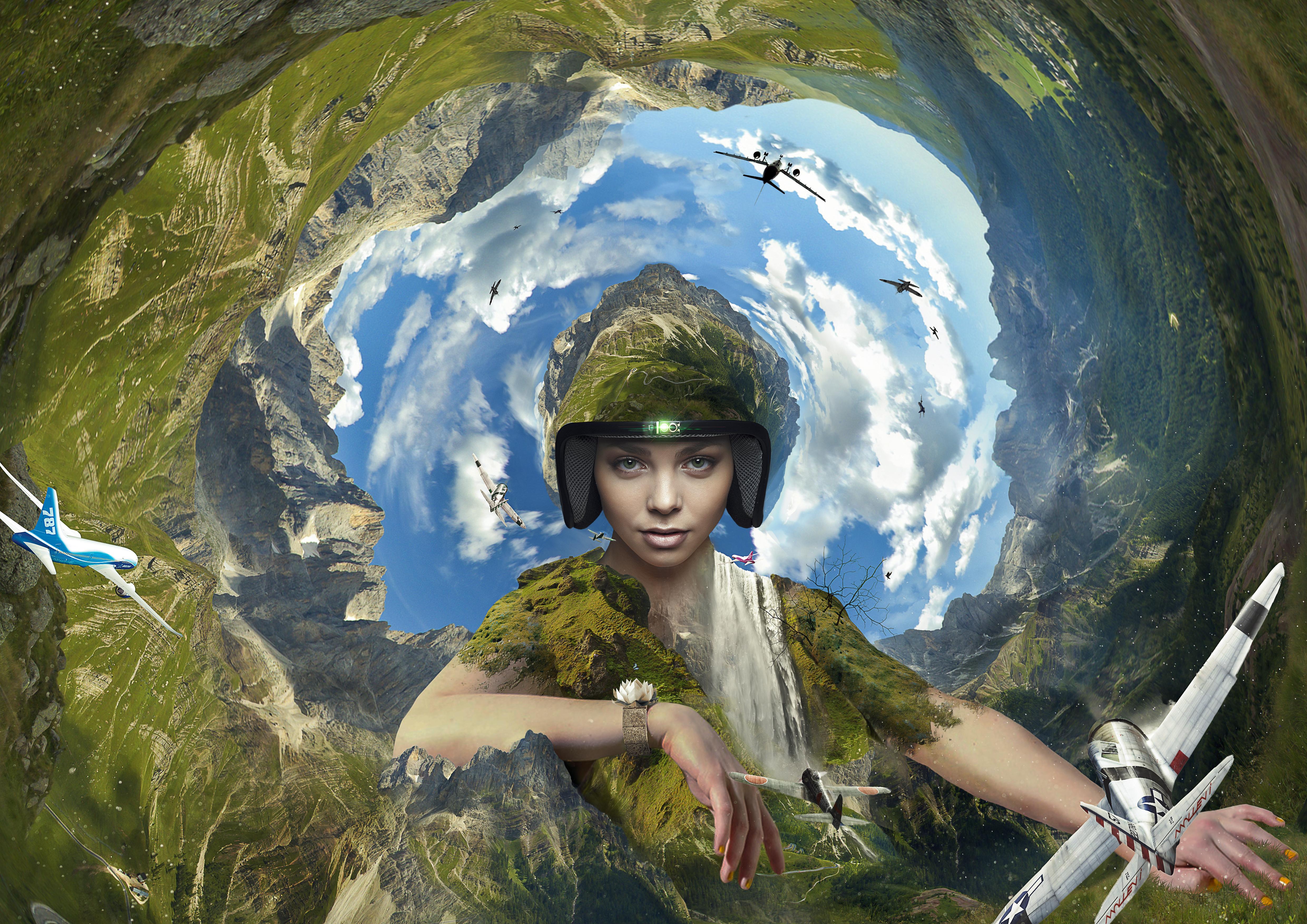 Aeronaut's Den Fotolia Madre naturaleza mother nature, earth tierra, molleví, cascada, agua waterfall, plane avión, piloto, sexy mujer chica girl