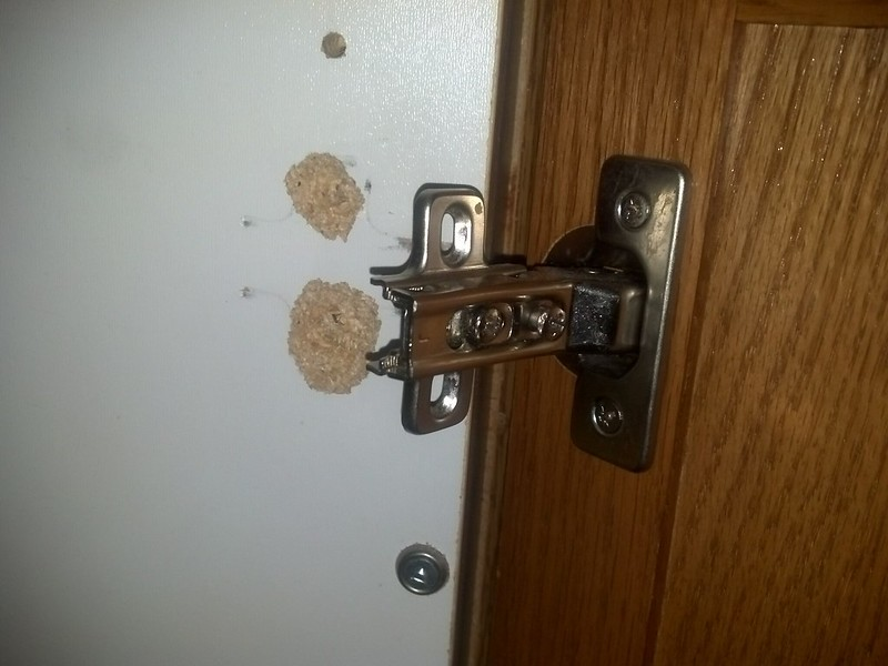 Fix Cabinet Door Hinge Particle Board Epoxy