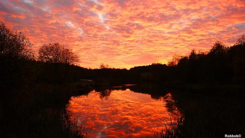 Sunset over Ravenhead Lake
