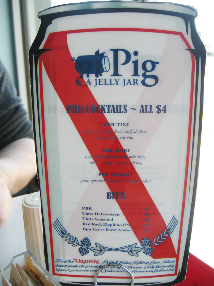 Pig and a Jelly Jar PBR Cocktails - Salt Lake City