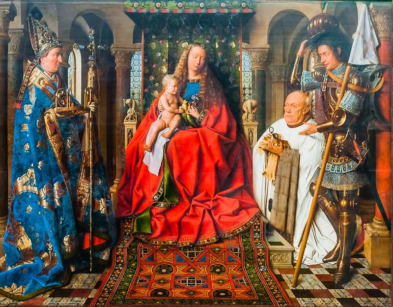 Madonna with Canon Joris Van der Paele, Jan Van Eyck, painting. Groeningmuseum, Bruges
