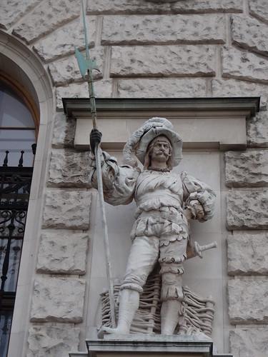 Wien, 1. Bezirk, Art of Facades of Vienna (Hofburg), Neue Burg - (1881-1913 built by Gottfried Semper, Karl Hasenauer, Emil Förster, Friedrich Ohmann and Ludwig Baumann) - Anton Schmid Gruber - Landsknecht