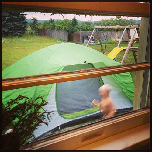 Playing in and around the tent in the backyard. #whynot