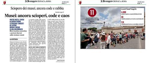ITALIA BENI CULTURALI: Sciopero dei musei, ancora code, caos, e rabbia, IL MESSAGGERO, (29/06/2013), p. 41. by Martin G. Conde