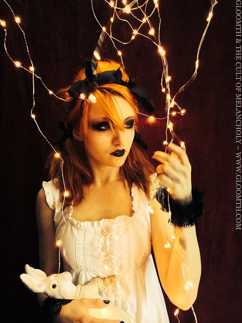 gloomth house of pomegranates goth girl black lipstick red hair redhead syringe model