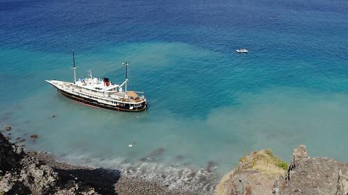 Elsa on shore at Ladder Bay