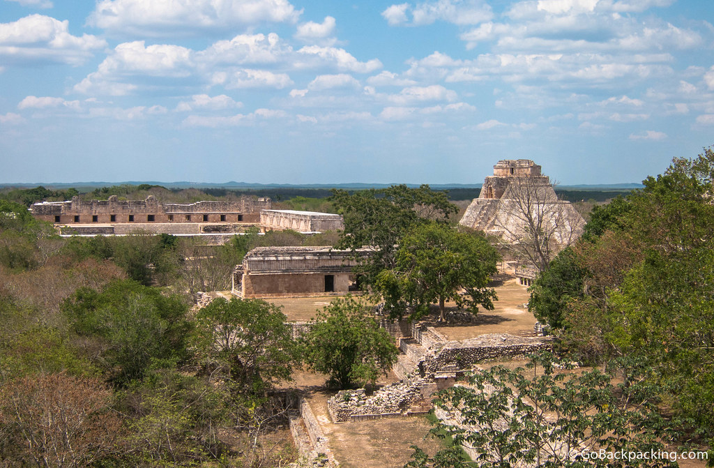 A wider view of Uxmal from the Great Temple