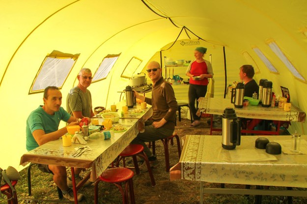 Kitchen tent at Merzbacher. South Inylchek Glacier Trek