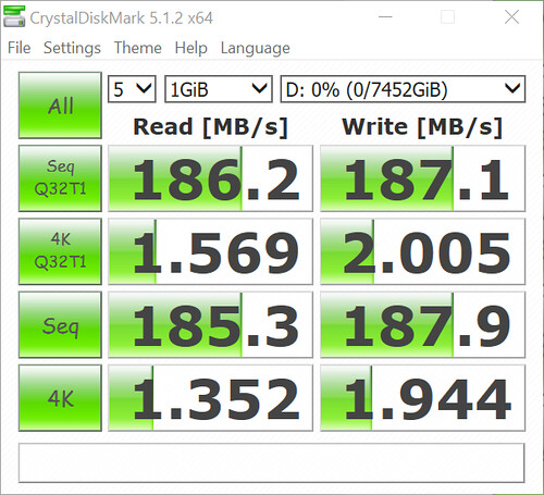 WD Red 8TB Crystal Mark 5 Result 1Gib