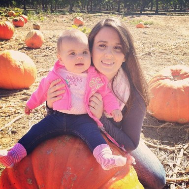 My baby & I playing in the pumpkin patch. #7monthsold