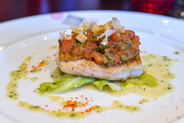 Le Bar seared sea bass with caper dressing and buttered cabbages