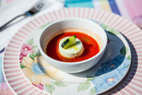 Tomato Soup with Cucumber Panna Cotta